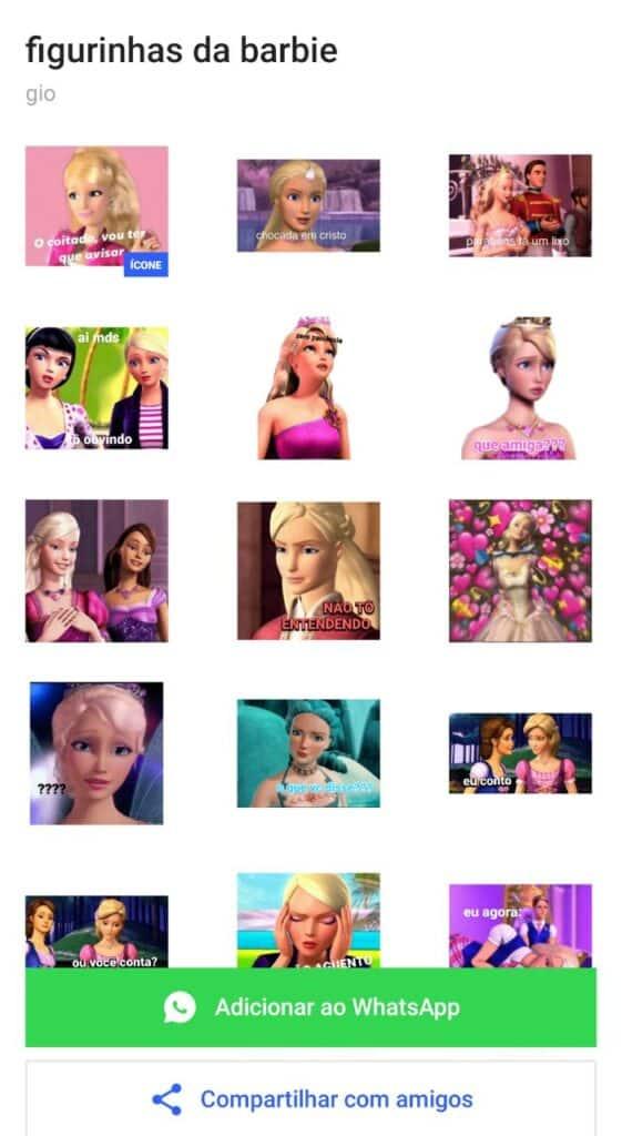 instalar figurinhas da barbie para whatsapp