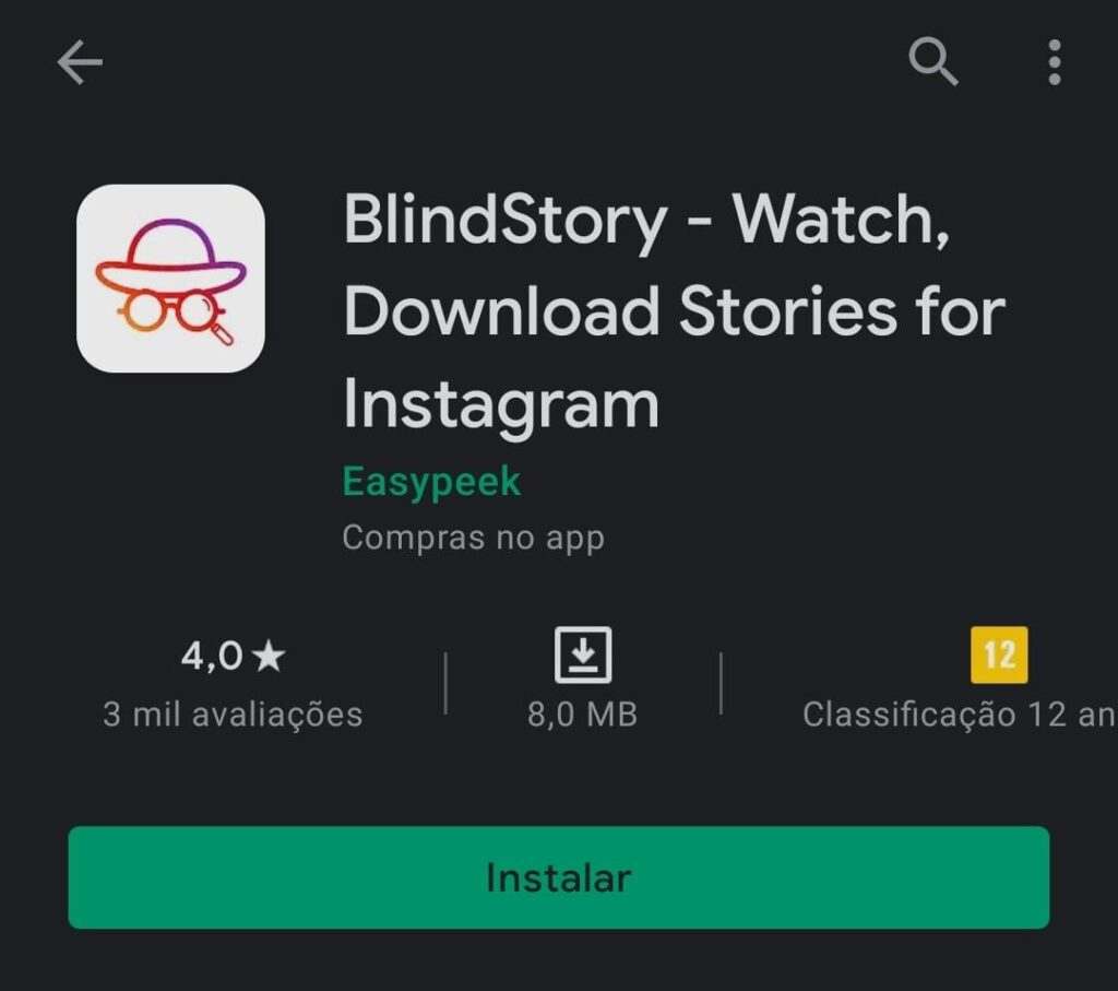 Imagem do app BlindStory