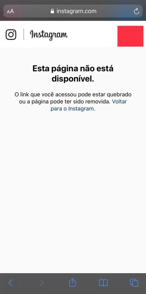 Print mostrando o block pelo instagram