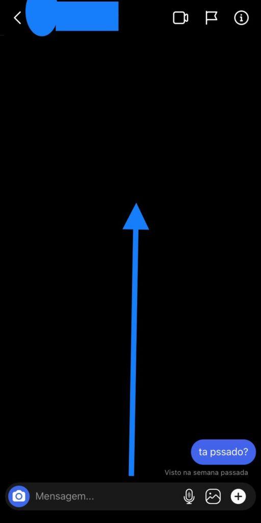 Print do instagram mostrando que para entrar no modo temporário precisa arrastar a tela para cima