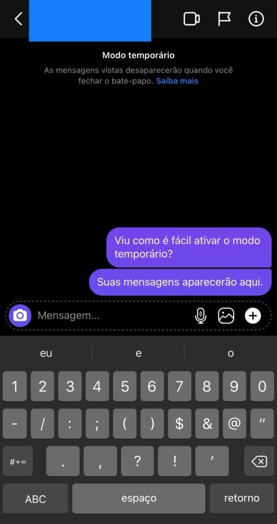 Print mostrando como ficam as mensagens no modo temporário