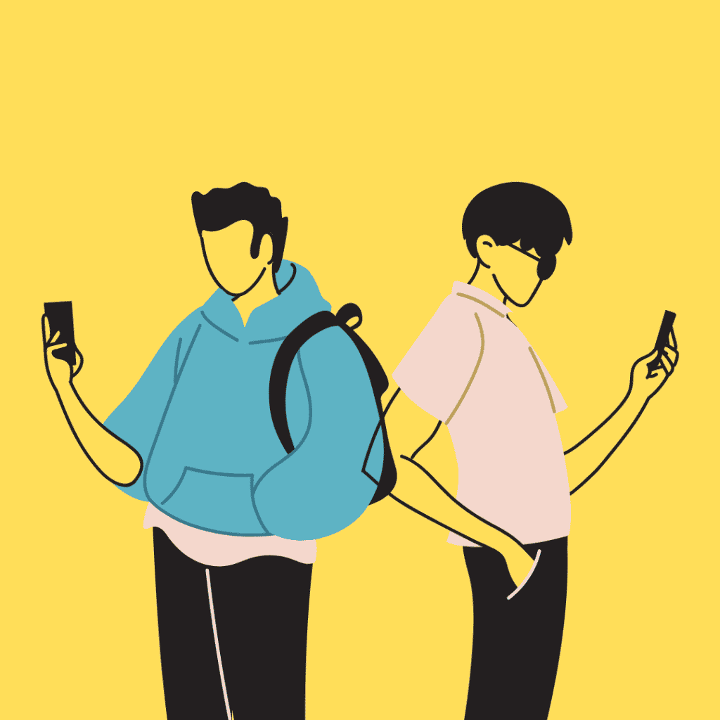 Imagem mostrando dois amigos com o celular