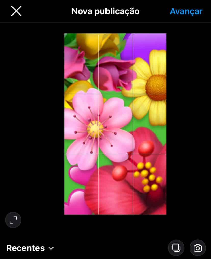 Print mostrando uma imagem inteira na tela de postagem do instagram